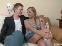 Sexy blonde teen Wendy getting asshole fucked and facial cummed by a hard cock