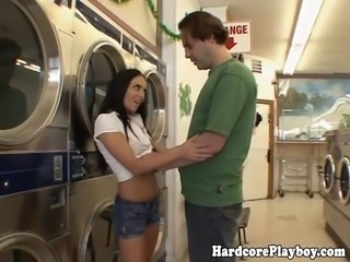 Amateur babe fucking cock in public at the laundrette