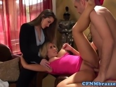 Close up threeway fun with Capri Cavanni and the hot and double d Dani Daniels