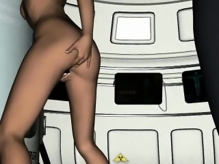 Sexy 3D cartoon blonde babe sliding a toy inside her
