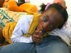 A Black girl takes white cock