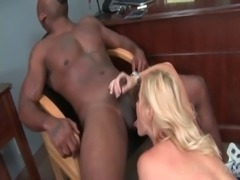 MILF on knees eating black cock and getting nailed on the table free