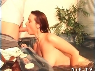 Seyx french redhead babe in black stockings fucked and jizzed in a jacuzzi