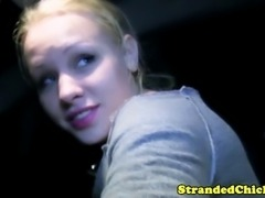 Hitch hiking blonde teen giving head in the back seat