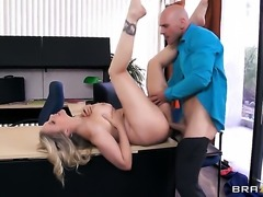 Johnny Sins whips out his love wand to fuck breathtakingly hot Julia Anns throat