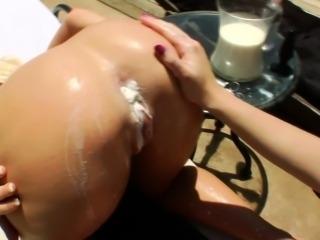 Hoe gets milk enema from lesbo