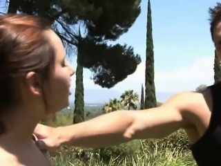 Tight brunette teen cheerleader banged in the backyard
