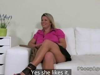 Huge boobs milf fucking a casting agent