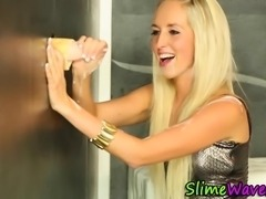 Glam clothed gloryhole ho fingers self and gets wam in fake cum