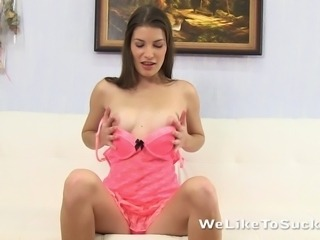 Teen girl is rewarded from hot blowjob with a jet stream of cum directed straight on her pretty face