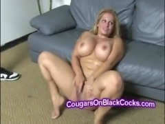 MILF Friday with her big natural tits takes 2 huge black dicks free