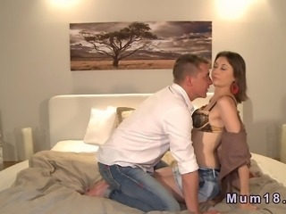 Brunette euro MILF in black panties foreplay with her man then he licks her pussy through her panties and when strips her of shoves his dick into her