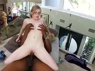 Innocent looking nerdy blonde bookworm Penny Pax with natural knockers and soft milky skin in gets naked for tall muscled black bull and fingers ass while riding on his monster cock.