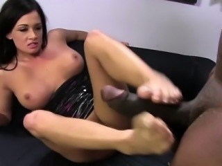 White hoe gets feet cum covered