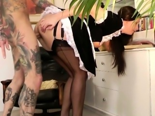 Classy euro mature in stockings cock drooling