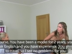 Lesbians oral sex casting POV ends with a muff dive