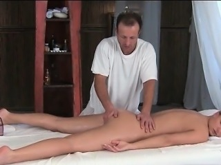 Awesome babe is massaged by big white