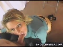 British milf POV blowjob in stockings free