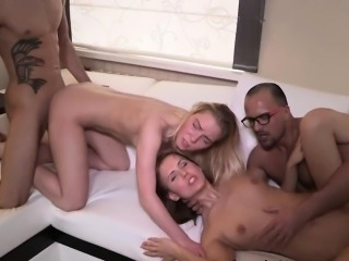 Cute Teens Anna And Angela In A Wild Foursome