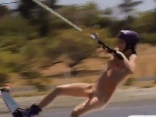 Babes take off their bikinis and try out wakeboarding