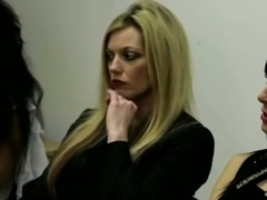 CFNM femdom blonde babe sucking dick