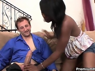 Coffee Brown sexy ebony babe works out big and strong white
