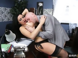 Johnny Sins gets his always hard sausage eaten by Audrey Bitoni  Raven Bay with massive boobs