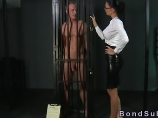 Muscled sub eats out his mistress