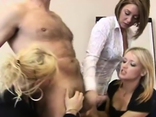 CFNM handjob loving business women are jerking cock