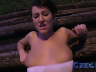Hottie sucks and fucks from behind in public