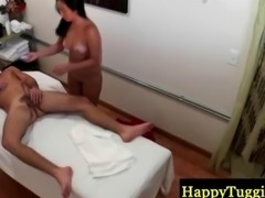 Asian masseuse in doggystyle action
