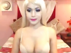 Cute Busty Shemale Blonde Masturbation