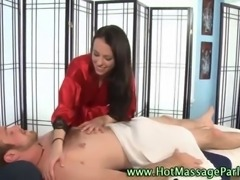 Brunette masseuse babe in high heels sucks and tugs cock