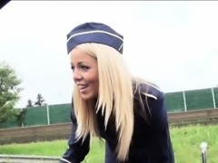 Stranded stewardess Christen Courtney fucked in public