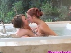 Lesbian oral action in outdoor bath