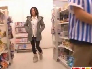 Sora in strong doggy fuck at store