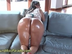 Oiled up huge booty ho sucks hard cock and loves it