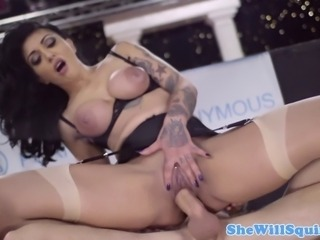 Tattood squirter Mai Bailey butt nailed and she moans loudly
