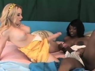 Nasty blonde and ebony babes ride