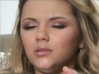 Ashlynn Brooke with massive melons and bald muff screams as she dildos her...