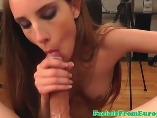 Cum hungry euro slut sucking dick deeply in pov and loves it
