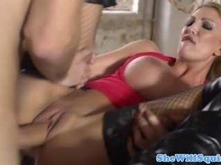 Amateur blonde squirting lover fucking and rubbing her wet pussy