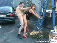 Outdoor session with kinky brunette MILF free