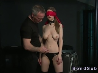 Big boobs brunette slave bent over and bound gets her beautiful ass spanked by her master then he anal fucks her from behind and fucks her throat