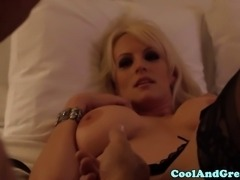 Busty blonde milf gets her pussy licked and she moans of pleasure
