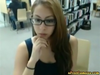 very sexy teen babe with glasses flashes and teases in public library on cam