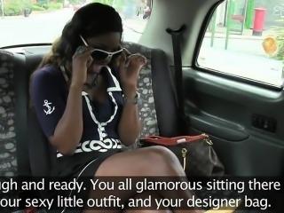 Stunning busty British ebony fuck in fake taxi