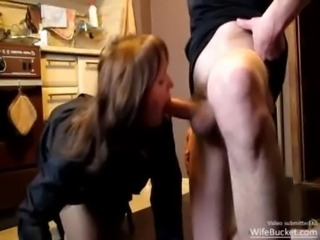Real housewife giving a hot blowjob in the kitchen free