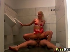 Slut loves goldenshowers and gets fucked and sucks cock