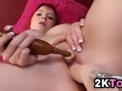 Beautiful redhead masturbates with her toy and her machine